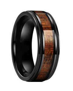 *COI Black Titanium Step Edges Milgrain Ring With Wood-6899