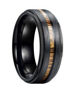 *COI Black Titanium Sandblasted Step Edges Ring With Wood-6902