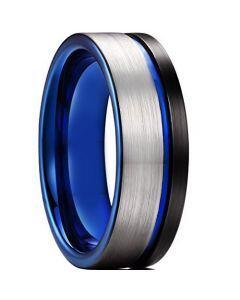 *COI Titanium Black Blue Offset Grooves Pipe Cut Flat Ring-6904