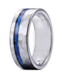 *COI Titanium Hammered Ring With Meteorite-6906