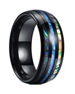 *COI Black Titanium Abalone Shell Dome Court Ring-6911