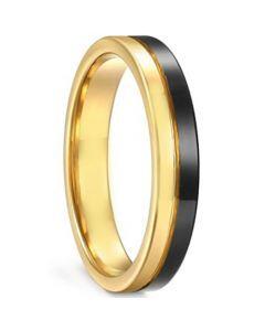 **COI Titanium Black Gold Tone Center Groove Pipe Cut Flat Ring-6926