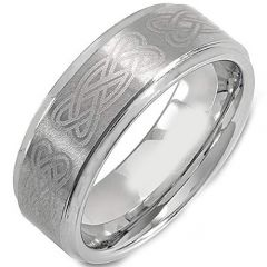 COI Tungsten Carbide Celtic Step Edges Ring - TG725BB