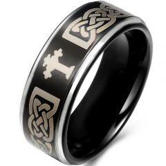 COI Titanium Black Silver Cross Celtic Step Edges Ring - JT1585B