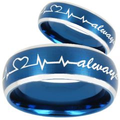 *COI Tungsten Carbide Blue Silver Heartbeat Ring - TG810BB