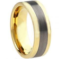COI Tungsten Carbide Gold Tone Silver Center Line Ring-TG884