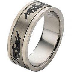 COI Titanium Celtic Double Grooves Ring - JT896A