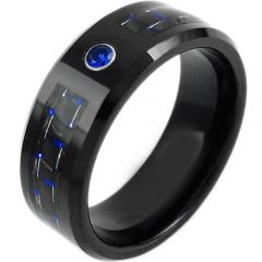 COI Black Titanium Carbon Fiber Created Sapphire Ring-919AAA