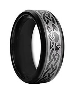 COI Black Tungsten Carbide Mo Anam Cara Celtic Ring-TG956AA