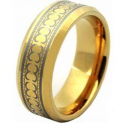 COI Gold Tone Titanium Celtic Beveled Edges Ring - JT966AA