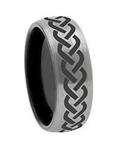 COI Tungsten Carbide Black Silver Celtic Dome Court Ring - 972