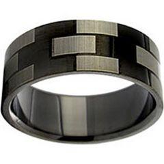 COI Black Titanium Checkered Flag Pipe Cut Flat Ring - JT1001