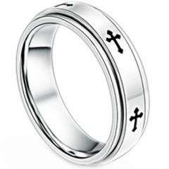 COI Titanium Cross Step Edges Ring - JT1473A