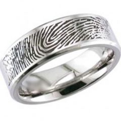 COI Titanium Pipe Cut Flat Ring With Custom FingerPrint-JT1566