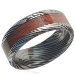 COI Black Titanium Damascus Wood Beveled Edges Ring-1606CC