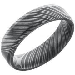 COI Titanium Black Silver Damascus Step Edges Ring - JT1663CC