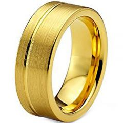 COI Gold Tone Titanium Offset Groove Ring - JT1952AA