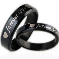 COI Black Titanium Forever Love Beveled Edges Ring - JT2150