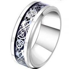 COI Titanium Black Silver Dragon Beveled Edges Ring - JT2292AA