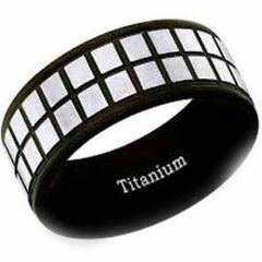 COI Titanium Black Silver Checkered Flag Pipe Cut Flat Ring-2442