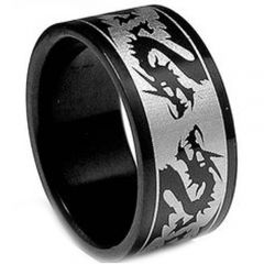 COI Titanium Black Silver Dragon Pipe Cut Flat Ring - JT2534A