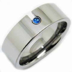 COI Titanium Pipe Cut Ring With Created Sapphire - JT2892A
