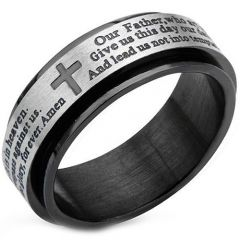 COI Titanium Black Silver Cross Scripture Ring - JT3124