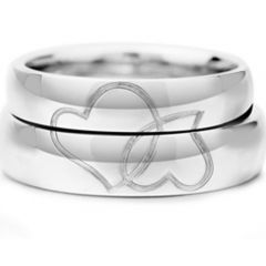 COI Titanium Dome Court Ring With Heart-JT3253