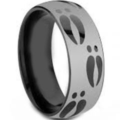 COI Titanium Black Silver Deer Track Dome Court Ring - JT3261