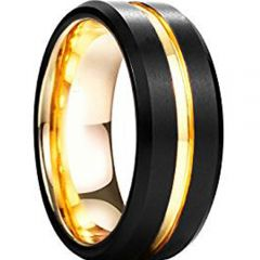 COI Titanium Black Gold Tone Center Groove Ring-3292