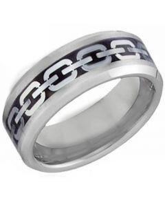 COI Tungsten Carbide Key Chain Beveled Edges Ring - TG4201