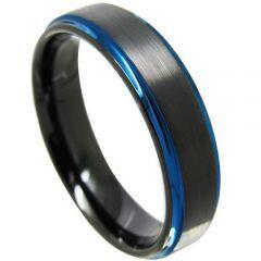 COI Titanium Black Blue Step Edges Ring - JT3559
