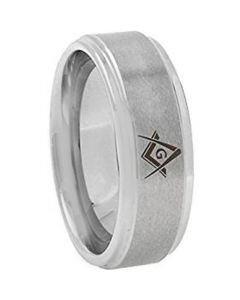 COI Tungsten Carbide Masonic Step Edges Ring - TG3645