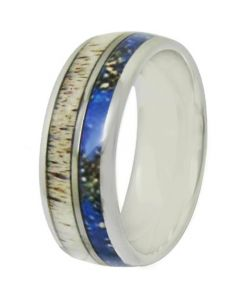 COI Titanium Deer Antler & Blue Wood Dome Court Ring - JT3981