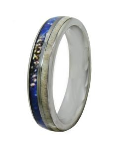 COI Titanium Deer Antler & Blue Wood Dome Court Ring - JT4087