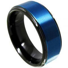 *COI Titanium Black Blue Step Edges Ring-JT4113