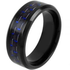 COI Black Titanium Carbon Fiber Beveled Edges Ring-JT5001