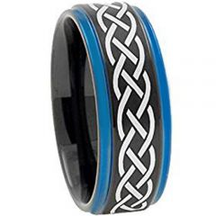 COI Titanium Black Blue Celtic Step Edges Ring-JT5004