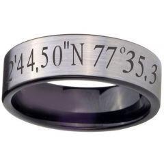 COI Titanium Custom Coordinate Pipe Cut Flat Ring-JT5009