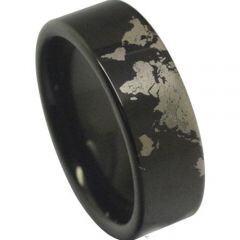 COI Black Titanium Map Pipe Cut Flat Ring-JT5014