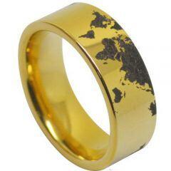 COI Gold Tone Titanium Map Pipe Cut Flat Ring-5020