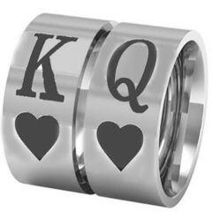 *COI Titanium King Queen Heart Pipe Cut Flat Ring-JT5042