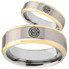COI Titanium Gold Tone Silver FireFighter Step Edges Ring-JT5051