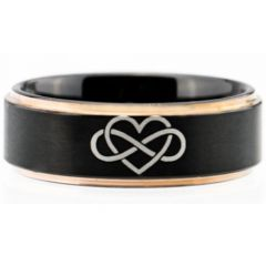 COI Titanium Black Rose Kingdom & Heart Step Edges Ring-5052