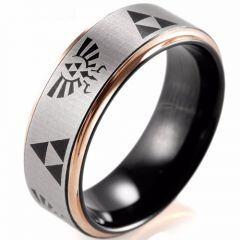 COI Titanium Black Rose Legend of Zelda Step Edges Ring-JT5057