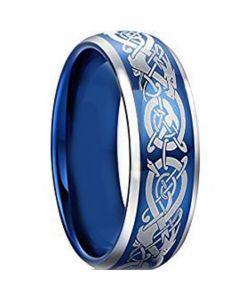COI Titanium Blue Silver Dragon Beveled Edges Ring - JT3877