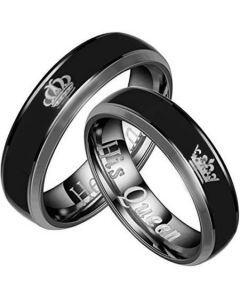 COI Tungsten Carbide King Queen Crown Ring - TG2094
