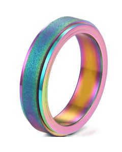COI Titanium Rainbow Pride Sandblasted Step Edges Ring-5281