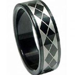 COI Titanium Black Silver Checkered Flag Pipe Cut Flat Ring-680