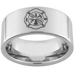 COI Titanium FireFighter Pipe Cut Flat Ring - JT846A
